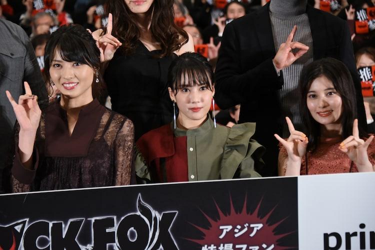 左から矢島舞美、山本千尋、大久保桜子。
