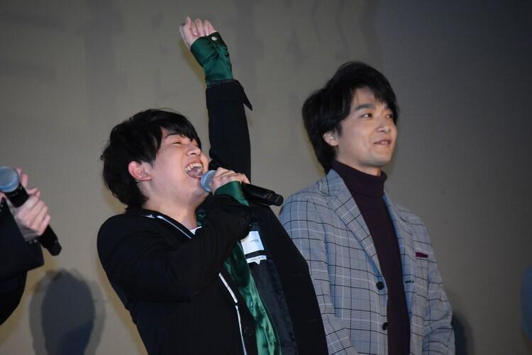「公開初日が来たーーー!」と叫ぶ山下大輝(左)。