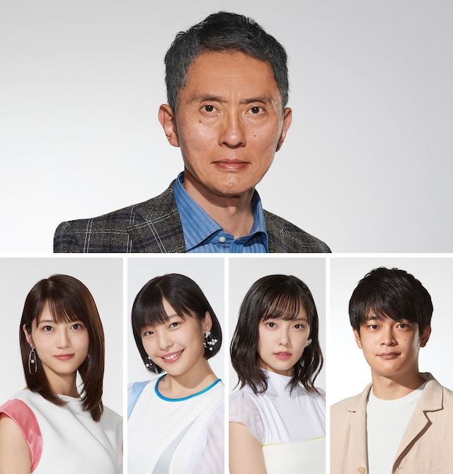 「ドラマW 父と息子の地下アイドル」出演者一覧。上段から時計回りに松重豊、井之脇海、加藤小夏、芋生悠、若月佑美。