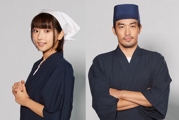 「異世界居酒屋『のぶ』」より、左から武田玲奈演じる千家しのぶ、大谷亮平演じる矢澤信之。