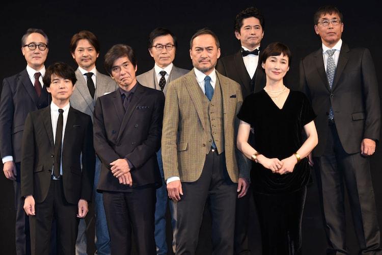 「Fukushima 50」ワールドプレミアにて、前列左から吉岡秀隆、佐藤浩市、渡辺謙、安田成美。後列左から佐野史郎、緒形直人、平田満、萩原聖人、若松節朗。