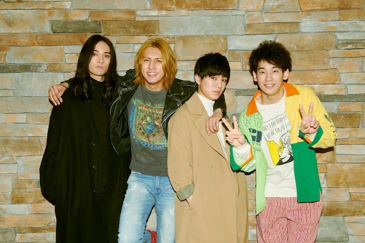 左から栗原類演じるオギノ、藤井流星扮するシズマ、神山智洋演じるテツ、吉田健悟扮するコバ。
