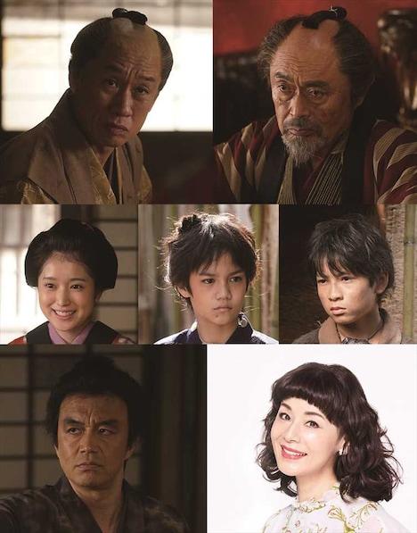 上段左から西村まさ彦、伊武雅刀。中段左から福本莉子、角紳太郎、山中一輝。下段左から金山一彦、大地真央。