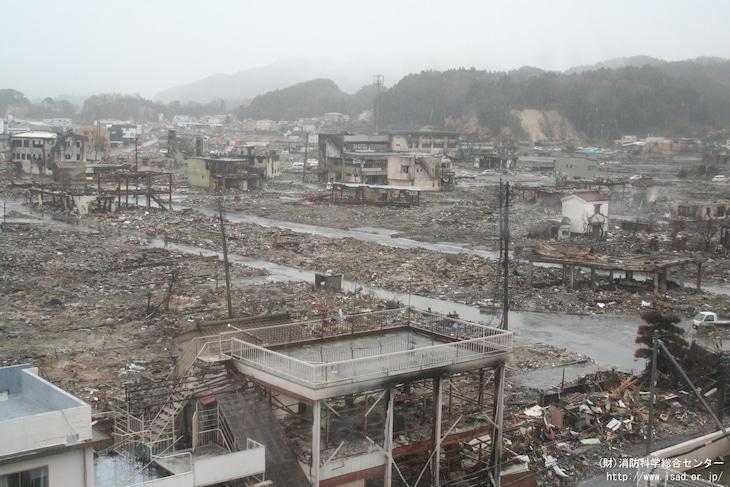 津波被害を受けた岩手県山田町。(出典:財団法人消防科学総合センター災害写真データベース)