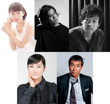 上段左から吉岡里帆、寛一郎、山中崇。下段左から余貴美子、柳葉敏郎。
