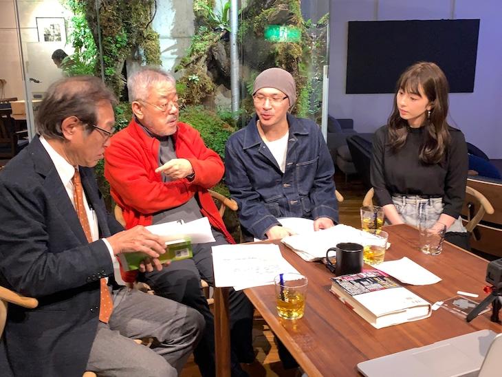 左から二木啓孝、井筒和幸、森直人、柳ゆり菜。