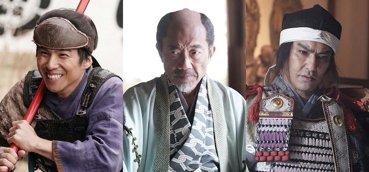 左から中尾明慶演じる木下藤吉郎、竹中直人演じる堀田道空、北村一輝演じる織田信秀。