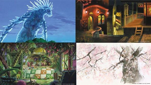 左上から時計回りに、「もののけ姫」「千と千尋の神隠し」「かぐや姫の物語」「借りぐらしのアリエッティ」の背景素材。