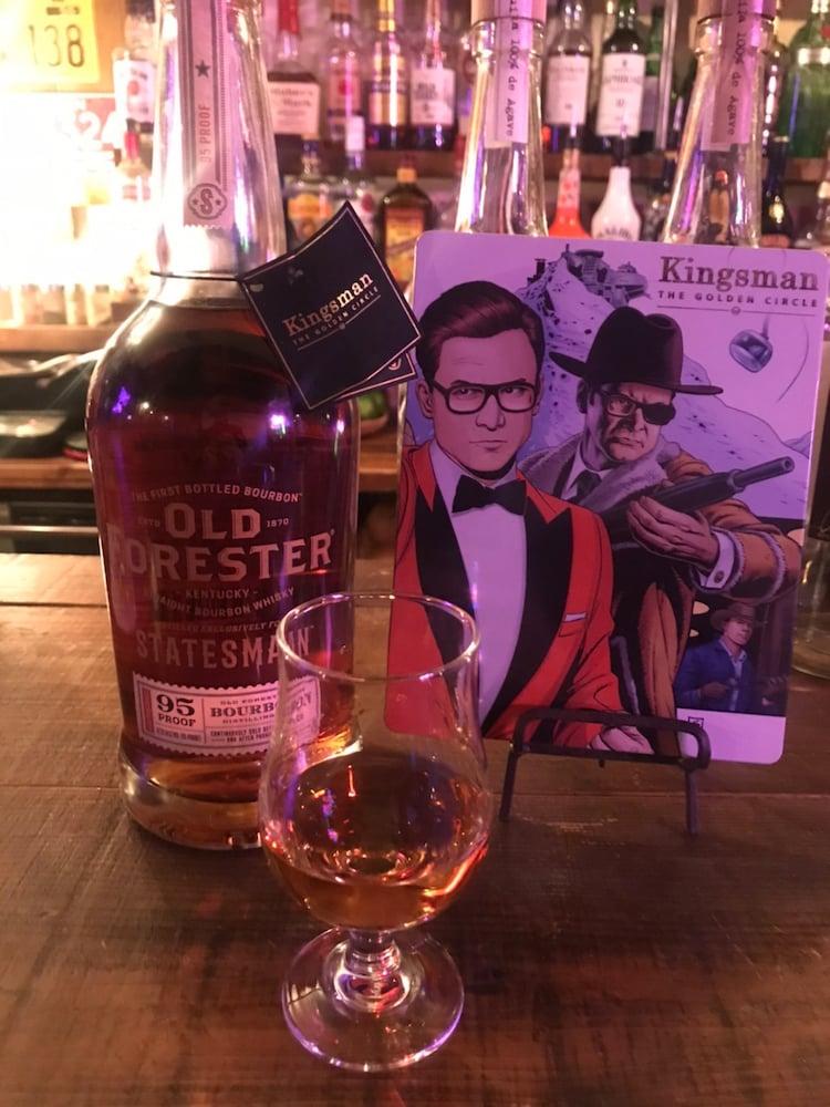 「キングスマン:ゴールデン・サークル」に登場する組織ステイツマンの名を冠したバーボンウイスキー「オールド・フォレスター・ステイツマン」。