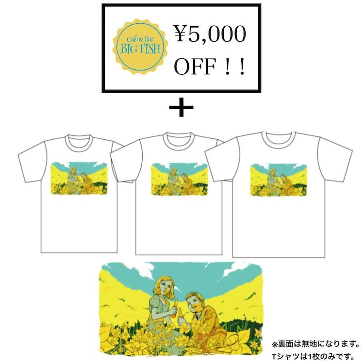 今後追加予定の飲食券5000円分とTシャツのリターン。
