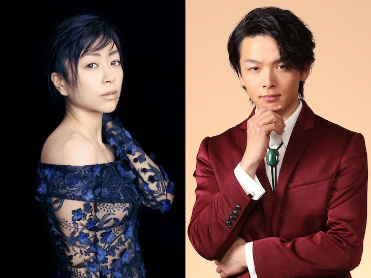 左から宇多田ヒカル、明智五郎役の中村倫也。