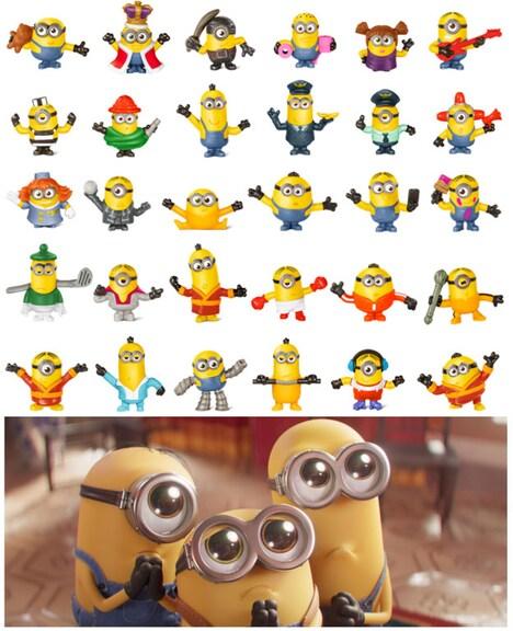 「ハッピーセット『ミニオンズ』」のおもちゃ30種。