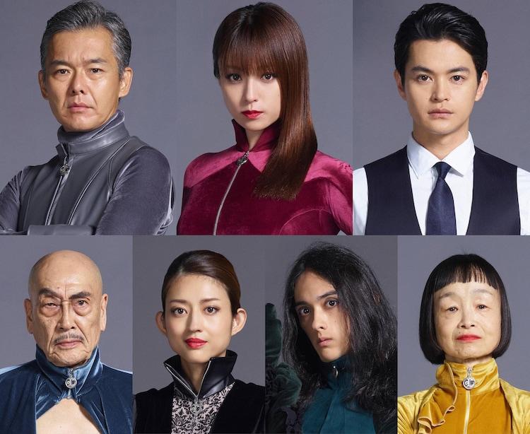 ドラマ「ルパンの娘」キャスト。上段左から渡部篤郎、深田恭子、瀬戸康史。下段左から麿赤兒、小沢真珠、栗原類、どんぐり。