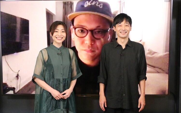 「緊急事態宣言」完成記念オンライン会見イベントの様子。手前左から内田慈、岩瀬亮。奥が真利子哲也。