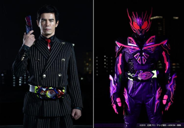 左から伊藤英明演じるエス、仮面ライダーエデン。