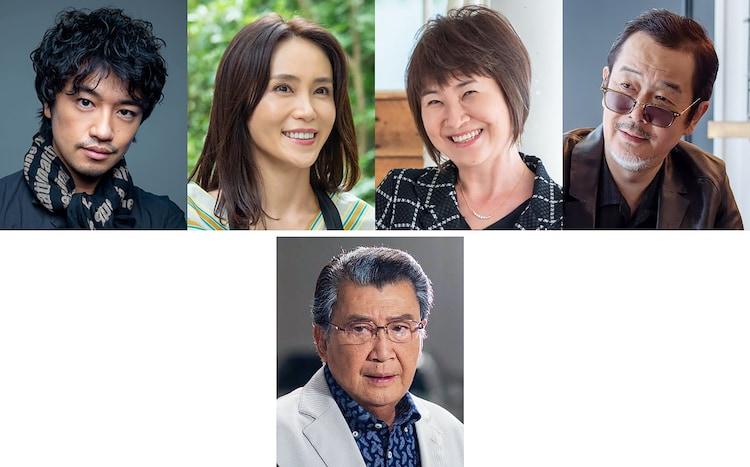 上段左から時計回りに斎藤工、山口紗弥加、猫背椿、リリー・フランキー、里見浩太朗。