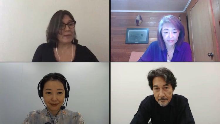 第45回トロント国際映画祭ワールドプレミアでのリモートインタビューの様子。下段左から西川美和、役所広司。