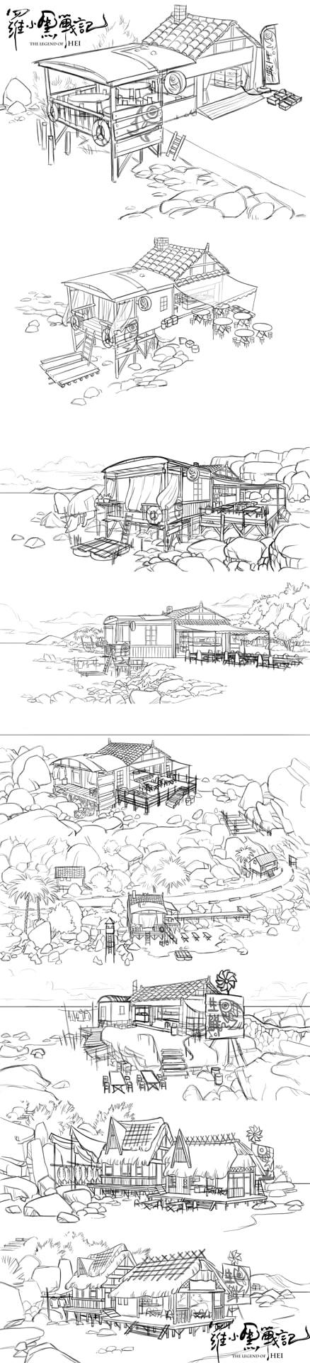 海辺小店の設定画。