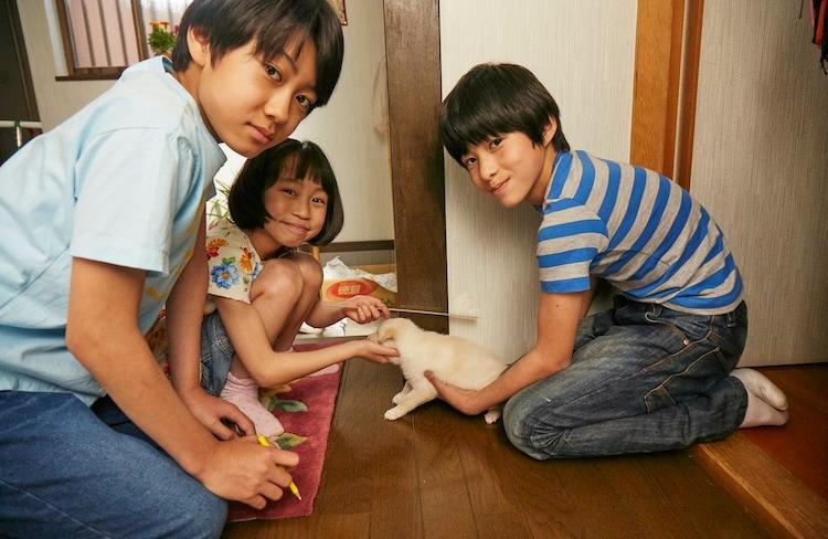 「さくら」メイキング写真。左から佐藤大志、来夢、高橋曽良。
