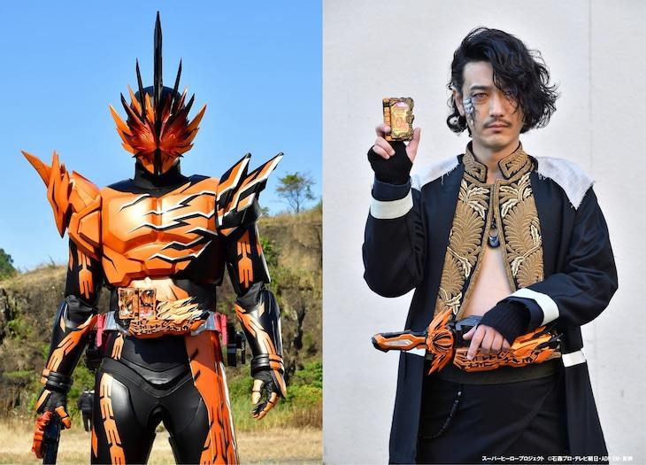 左から仮面ライダーファルシオン、谷口賢志演じるバハト。