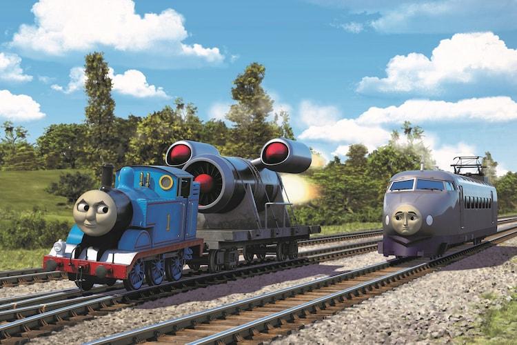 発明品の巨大なロケットブースターを背負ったトーマス(左)とケンジ(右)。