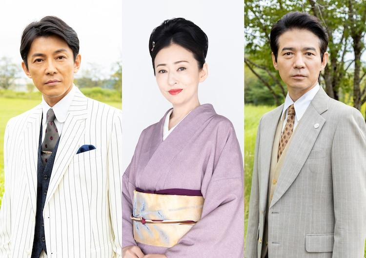 左から藤木直人扮する白洲次郎、松雪泰子演じる佐野千代、吉岡秀隆演じる松木静男。