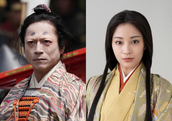 左から、三上博史演じる今川義元、広瀬すず演じる濃姫。