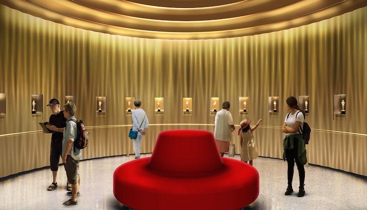 歴代オスカー像の展示コーナー。(c)Academy Museum Foundation / Image by WHY Architecture