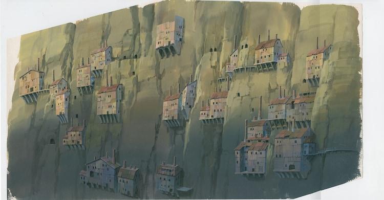 「天空の城ラピュタ」(1986)背景画 宮崎駿 (c)1986 Studio Ghibli