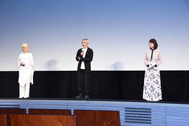 左から南野陽子、田中泯、石田ゆり子。