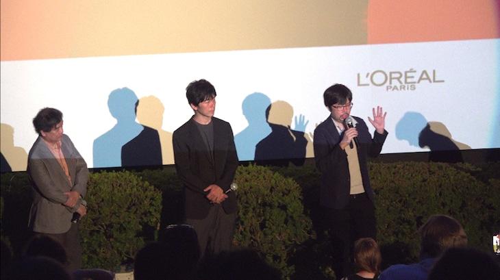 第71回ベルリン国際映画祭での「由宇子の天秤」上映時の様子。左から片渕須直、梅田誠弘、春本雄二郎。