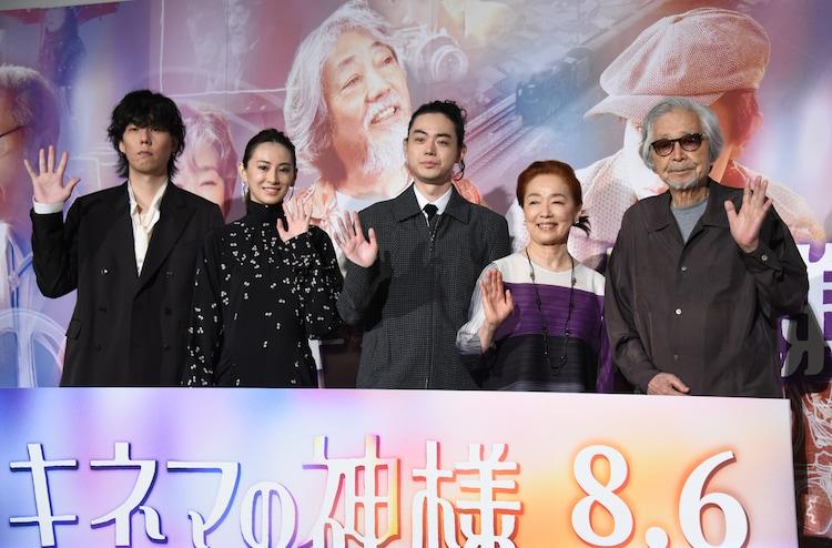 「キネマの神様」公開記念舞台挨拶の様子。左から野田洋次郎、北川景子、菅田将暉、宮本信子、山田洋次。