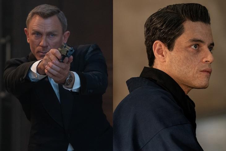 左からダニエル・クレイグ演じるジェームズ・ボンド、ラミ・マレック扮するサフィン。