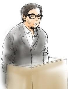 岡村被告は黒縁メガネ、白いシャツに黒のスーツを着用。終始かすれた小さな声で供述を行った。自身の職業について聞かれ「音楽家です。人々に元気を与えて勇気づけたり幸せになってもらう。そういう仕事だと思っています」と発言する場面も。