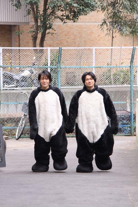 仲睦まじく手をつなぐパンダが2匹。左がハンキー(健一)で右がパンキー(秀樹)。絵文字キャラクター「デコレ村の絵文字たち」から生まれたスペシャルユニットだ。