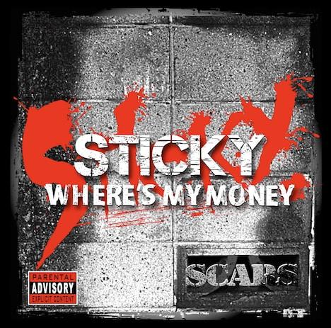 写真は昨年12月に発売されたSTICKYのソロアルバム「WHERE'S MY MONEY」。「金」をコンセプトにした14曲が収録されている。