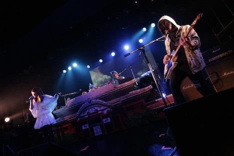 「遥」演奏の様子。RYUKYUDISKOのビートに合わせMEGのボーカルとiLLのギターが絡み合う幻想的な空間が展開された。