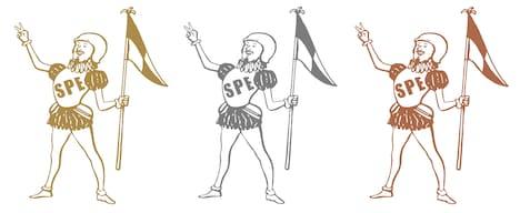写真は「スペアザエンゼル」サンプル。左から金、銀、銅。キャラクターの顔は宮原良太(Dr,Per)に似ている。