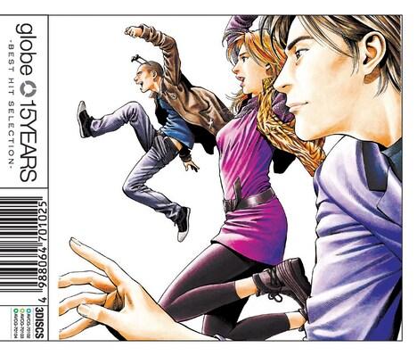 北条司がイラストを描き下ろしたジャケット。左の元気に飛び跳ねているのがMARC、真ん中の女性がKEIKO、右の色男が小室哲哉だ。