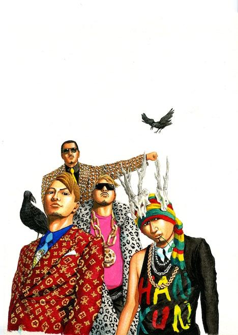 高橋のぼるが独特のタッチで描いた湘南乃風メンバー。