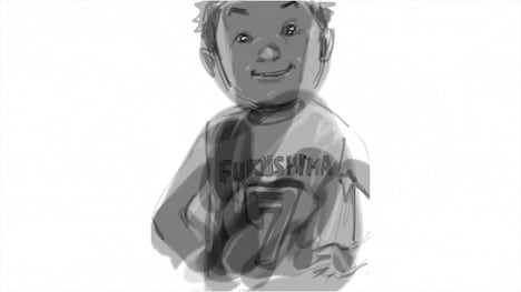 CMに使用される井上雄彦の「Smile」シリーズの1点。