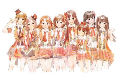 アニメに登場するAKB48メンバーのイメージイラスト。