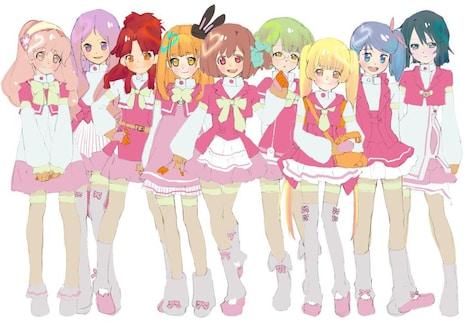 アニメの主人公となるアイドル候補生9人のイメージイラスト。