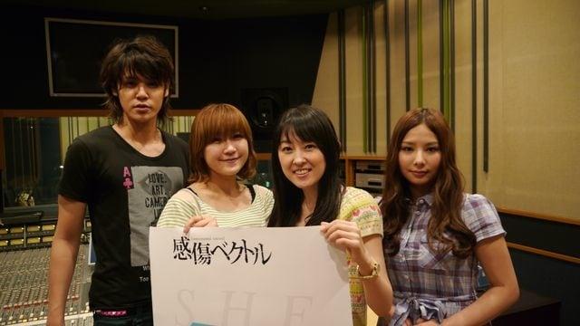 「シルク」と「ラストシーン」のアフレコに参加した宮野真守、佐藤利奈、高橋美佳子、生田善子。