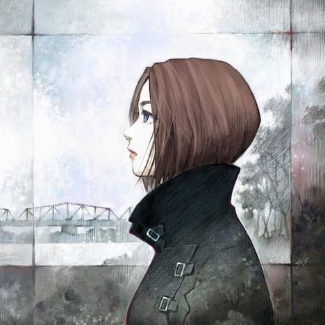 貞本義行が描き下ろした宇多田ヒカル「桜流し」ジャケット。