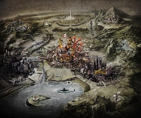 「アザレアの心臓」で描かれる仮想の街のイメージイラスト。