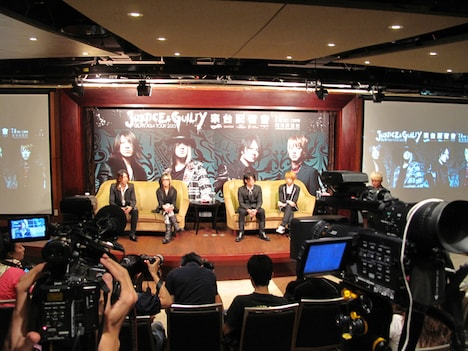6月13日に台湾で行われたGLAYの記者会見の模様。