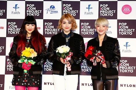 「POP ICON PROJECT TOKYO」合格者。左から森安眞子、辻川奈々実、安川摩吏紗。