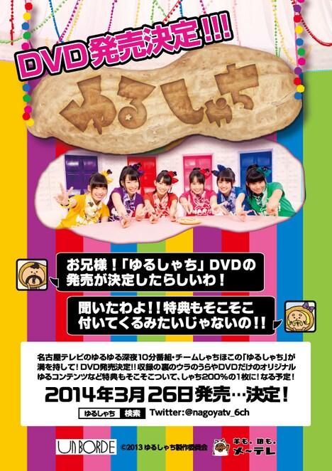 昨日1月19日に開催されたチームしゃちほこのフリーイベント「新春鯱祭り」にて配布された「ゆるしゃち」DVD告知フライヤー。