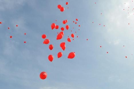 空に向けて放たれた赤い風船。